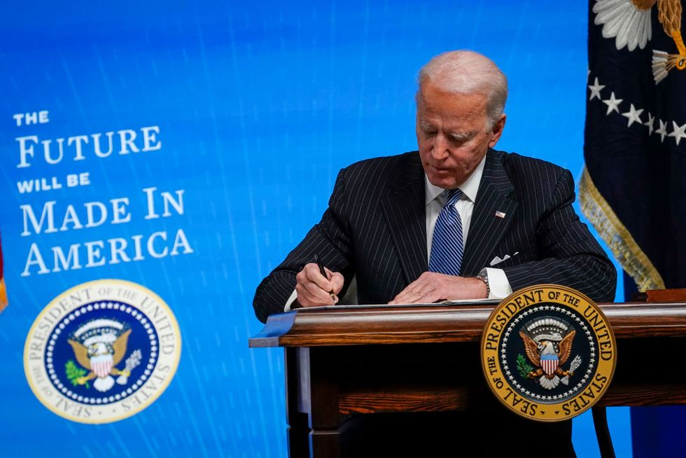 "President Joe Biden signs his ""Made in America"" executive order"